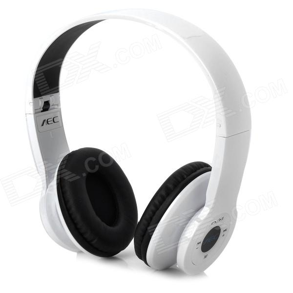 AEC BQ605 Wireless A2DP Stereo CSR Bluetooth V2.1+EDR Headset w/ Micro SD Slot / FM Radio - White portable professional 2 4g wireless voice amplifier megaphone booster amplifier speaker wireless microphone fm radio mp3 playing