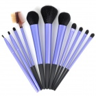 Professional 11-in-1 Nylon Fiber Makeup Brushes Set w/ PU Bag - Purple + Black