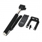 Stainless Steel + Plastic Monopod w/ Wireless Remote Control + Holder for IPHONE - Black + Silver