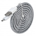 Micro USB Braid Charging Cable for Samsung Galaxy S3 i9300 / Mini i8190 + More - White + Black (2m)