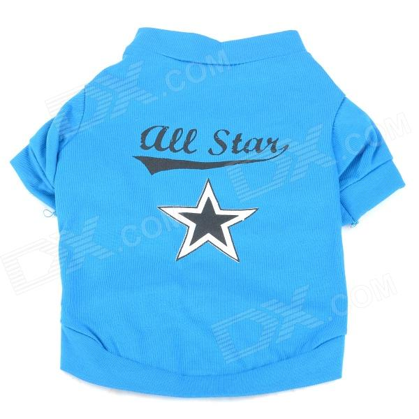 Five-Pointed Star Pattern Pet's Dog Cotton T-Shirt - Black + Blue (Size S)