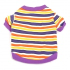 Horizontal Stripes Pattern Pet's Dog Cotton T-Shirt - Purple + Orange (Size S)