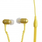 HH-135 Novel-Reißverschluss-Art Universal-Kabel In-Ear-Headset - Gelb (3,5 mm Klinkenstecker)