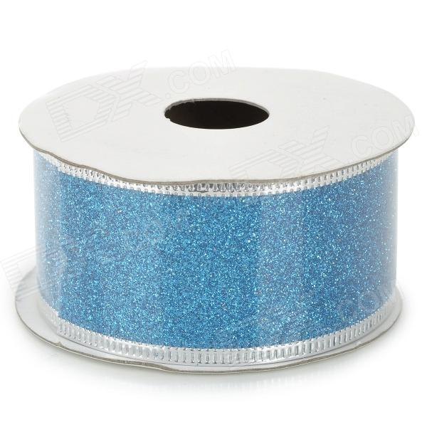 Dekoration schimmerndes Puder-Band - Weiß + Bright Blue (2,5 m)