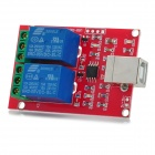 USB Control Switch 2-Channel 5V Relay Module - Red