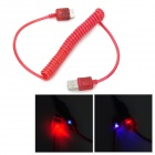 USB to Micro-B 9-Pin Data Charging Spring Cable w/ RGB Light for Samsung Galaxy Note 3 - Red