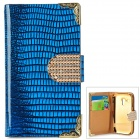 Stylish Protective PU Leather + Rhinestone Case for Samsung Galaxy S3 Mini i8190 / i8160 - Blue