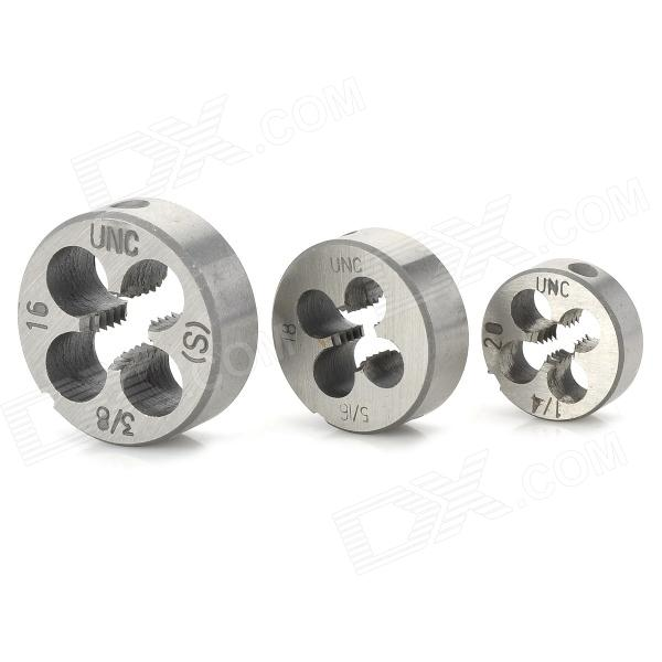1/4-20, 5/16-18, 3/8-16 UNC Screw Thread Round Die Tools (3 PCS) free shipping of 1pc hard steel alloy made un 1 15 16 16 american standard die threading tool lathe model engineer thread maker