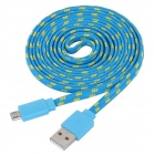 USB to Micro USB Data/Charging Woven Mesh Nylon Cable for Samsung S3 i9300 / S3 Mini / S7270 - Blue