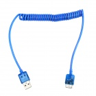 Flexible Micro USB 9 Pin Charging Data Cable w/ Colorful Flashing Light for Samsung - Blue (110cm)