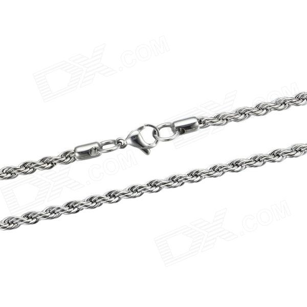 eQute CSS19T1S20 316L  Stainless Steel 3.4mm Rope Chain Necklace for Man 20 equte pssm4c1 316l stainless steel 7mm width silver chain necklace silver