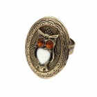 Fashionable Open-type Owl Pattern Ring - Antique Copper + Multicolored
