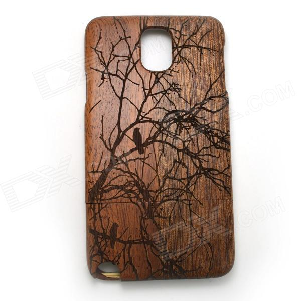 Carved Birds on Tree Pattern Protective Wooden Back Case for Samsung Galaxy Note 3 N9000 - Brown cm001 3d skeleton pattern protective plastic back case for samsung galaxy s4
