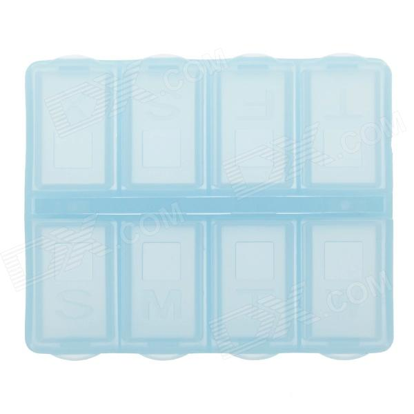 8 Cells Portable PP Medicine Capsule Storage Management Box - Light Blue high quantity medicine detection type blood and marrow test slides