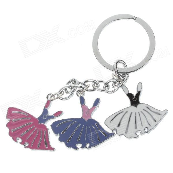 Fashionable Dress Style Stainless Steel Keychain - Silver + Blue + White + Pink