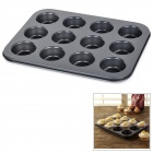 Mini 12-Cup Iron Cake / Biscuit Making Mold - Black