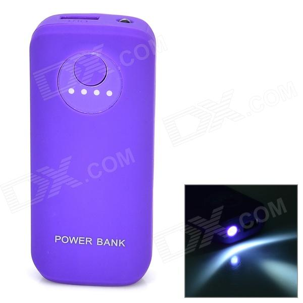 5V 5600mAh Li-ion Battery Power Bank w/ Light + USB Cable for Samsung - Purple 36v 4400mah 4 4ah dynamic li ion lithium ion rechargeable battery for self balance electric scooters power bank