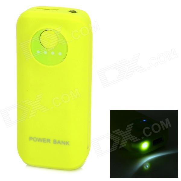 цена на 5V 5600mAh Li-ion Battery Power Bank w/ Light + USB Cable for Samsung - Yellowish Green