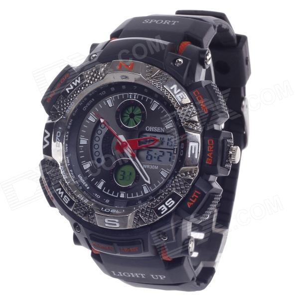 OHSEN AD1310 Men's Sport Analog + Digital Quartz Wrist Watch - Black + Orange (1 x CR-2025)