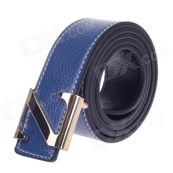 Z Shape Style Vogue Men's Cow Split Leather Zinc Alloy Pin Buckle Belt - Blue + Golden pouchkan stylish cow leather men s belt with zinc alloy buckle black