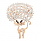 Fashion Cat Style Pearl + Rhinestone Decoration Women's Brooch - Golden + White