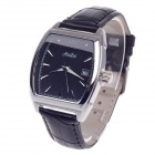 Haibo 6365 Stylish Women's PU Leather Quartz Wrist Watch w/ Date Display - Black + Silver (1xLR626)