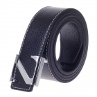 Z Shape Style Vogue Men's Cow Split Leather Zinc Alloy Pin Buckle Belt - Black + Silver