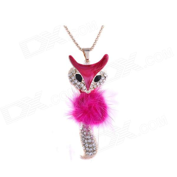 Korean Fahionable Dominate Little Fox Pattern Necklace - Deep Pink