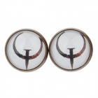 Bow Pattern Ancient Palace Bronze Ear Studs - White + Brown (1 pairs)