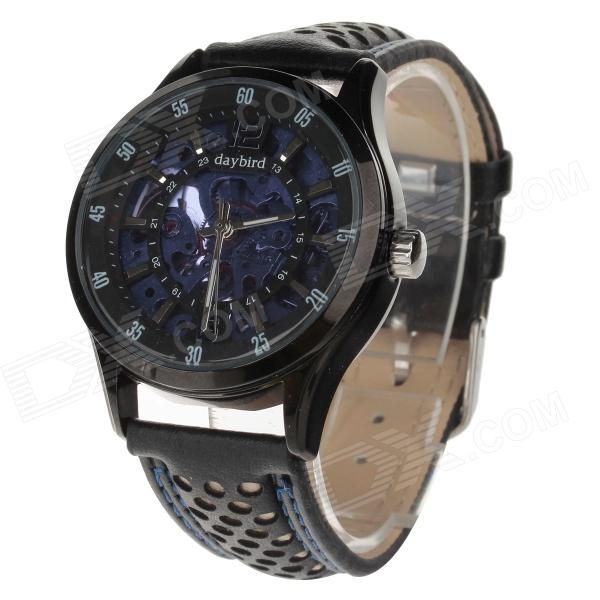 Daybird 3814 Fashionable Second Layer Cowhide Band Automatic Mechanical Wristwatch - Purple + Black expo shanghai 2010 edition purple dial purple band seagull flywheel automatic mechanical men s watch