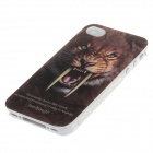 Animal Series Cute Tiger Style Phone Case Cover for Iphone 4 / 4s - Dark Brown