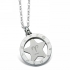"EQute PSSC58 316L Stainless Steel Constellation Pendant Necklace 20"" - Aries"