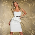 6194 Fashionable Sexy Wrap Chest Halter Cocktail Dress - White (Size:M)