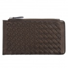 Fashion Multilayer Woven PU Leather Wallet for Women - Bronze