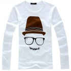 Men's Glasses Pattern Long Sleeve T-shirt Glasses  - White