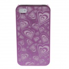 Laser Etching Series Heart-shape Pattern Phone Case Cover for Iphone 4 / 4s - Dark Pink