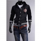 MUGE 5875 Fashionable Men's Leisure Baseball Hooded Fleece - Black + Grey (Size-XXL)