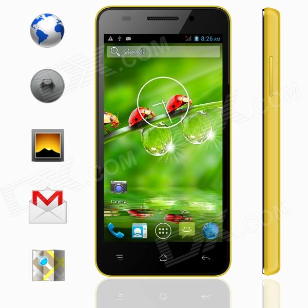 KICCY MTK6582 Quad-Core Android 4.2 WCDMA Bar Phone w/ 4.5 IPS, Wi-Fi, GPS, ROM 4GB - Yellow m pai 809t mtk6582 quad core android 4 3 wcdma bar phone w 5 0 hd 4gb rom gps black