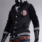 MUGE 5875 Fashionable Men's Leisure Baseball Hooded Fleece Coat - Black+Grey (Size-L)