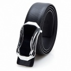 Men's Fashion Car Style Buckle Leather Belt - Black