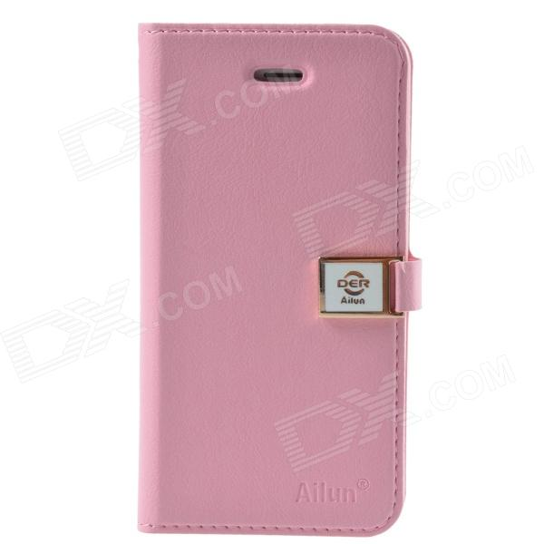 HELLO DEERE Ailun Series Protective PU Leather Case w/ Card Slots / Strap for IPHONE 5 / 5S - Pink litchi grain leather case with card slots for iphone 7 plus 5 5 inch pink