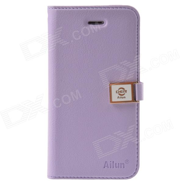 HELLO DEERE Ailun Series Protective PU Leather Case w/ Card Slots / Strap for Iphone 5 / 5s -Purple смарт часы asus zenwatch 3 wi503q gunmetal черный металлик коричневый ремешок wi503q 1rgry0011 90nz0062 m00680