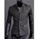 JK15 Men's Fashion Slim Fit Splicing Coat - Olive Green + Black (Size  XL)