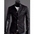 JK15 Men's Fashion Slim Fit Splicing Coat - Black (Size  L)