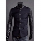 JK15 Herrenmode Slim Fit Splicing Coat - Blau + Schwarz (Größe XXL)