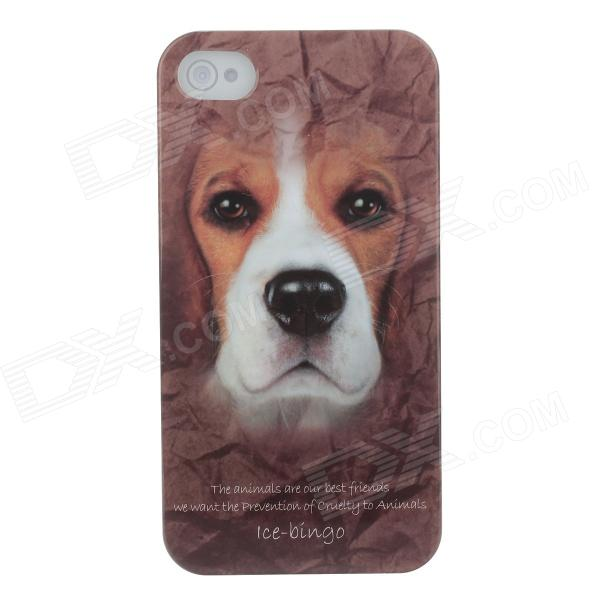 Animal Series style mignon chien Phone Case Cover pour iPhone 4 / 4S - Brown + Blanc