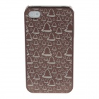 Laser Etching Series Christmas Tree Pattern Phone Case Cover for Iphone 4 / 4s - Brown
