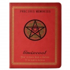 Five-pointed Star Pattern Protective PU Leather + Plastic Case for Ipad 2- Red