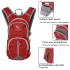 Locallion Outdoor Multi-Functional Nylon Backpack w/ Water Bag Compartment - Red