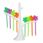 Creative Branch Stand + Flower Style Fruit Forks Kit - White + Multicolored